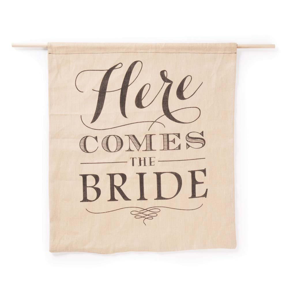 Here Comes The Bride Sign: Here Comes The Bride Burlap Sign