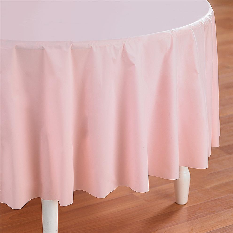 Pink Table Cloth : Pink Plastic Table Cover - Round