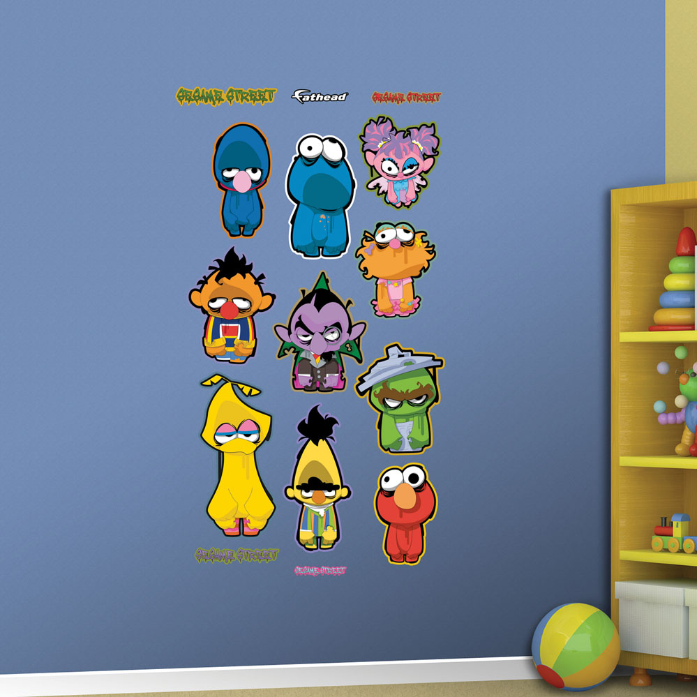 sesame street zombie collection realbig wall decal image 2 sesame street group mural wall decal shop