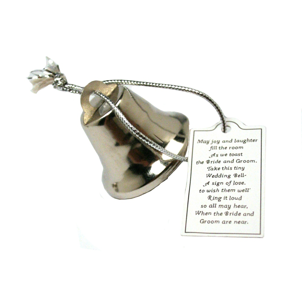 Silver Wedding Bells With Poem Cards