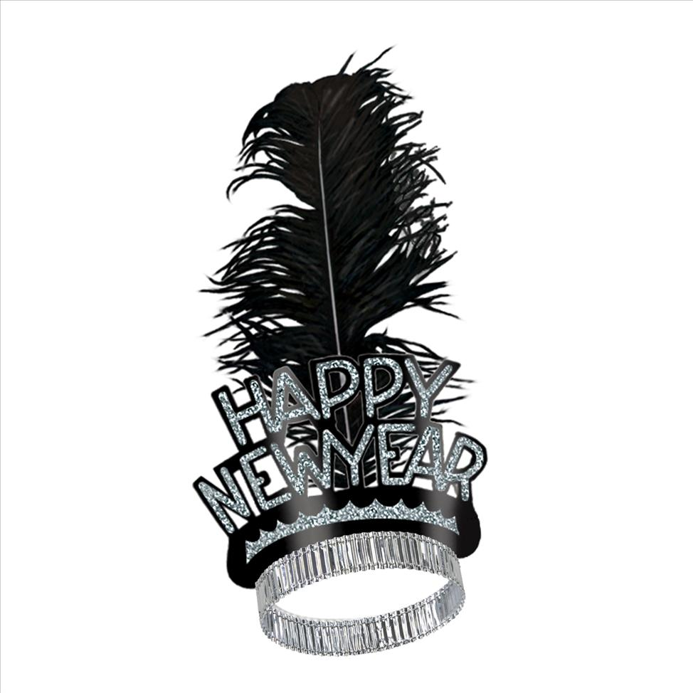 Sliver Happy New Years Tiara With Feather