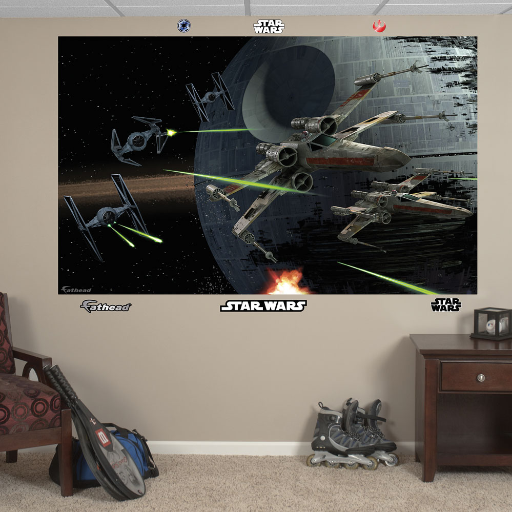 star wars space battle mural realbig wall decal darth vader star wars wall decal