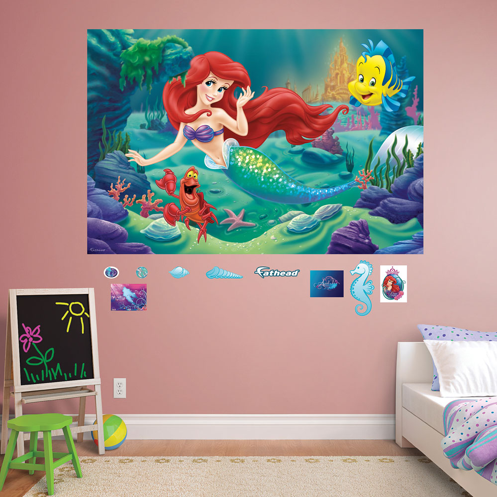 the little mermaid mural realbig wall decal the little mermaid smashed wall decal removable wall