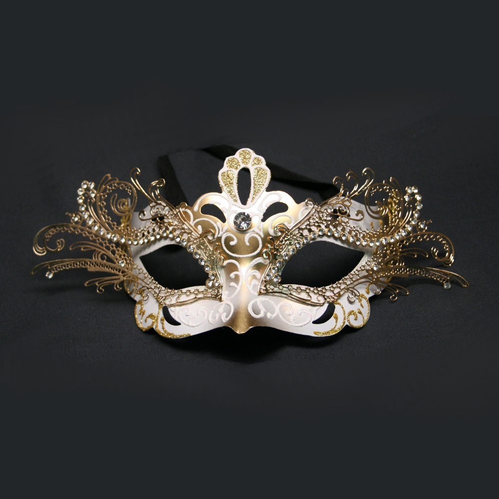 Buy White And Gold Decorative Metal Venetian Half Mask. Shop ...