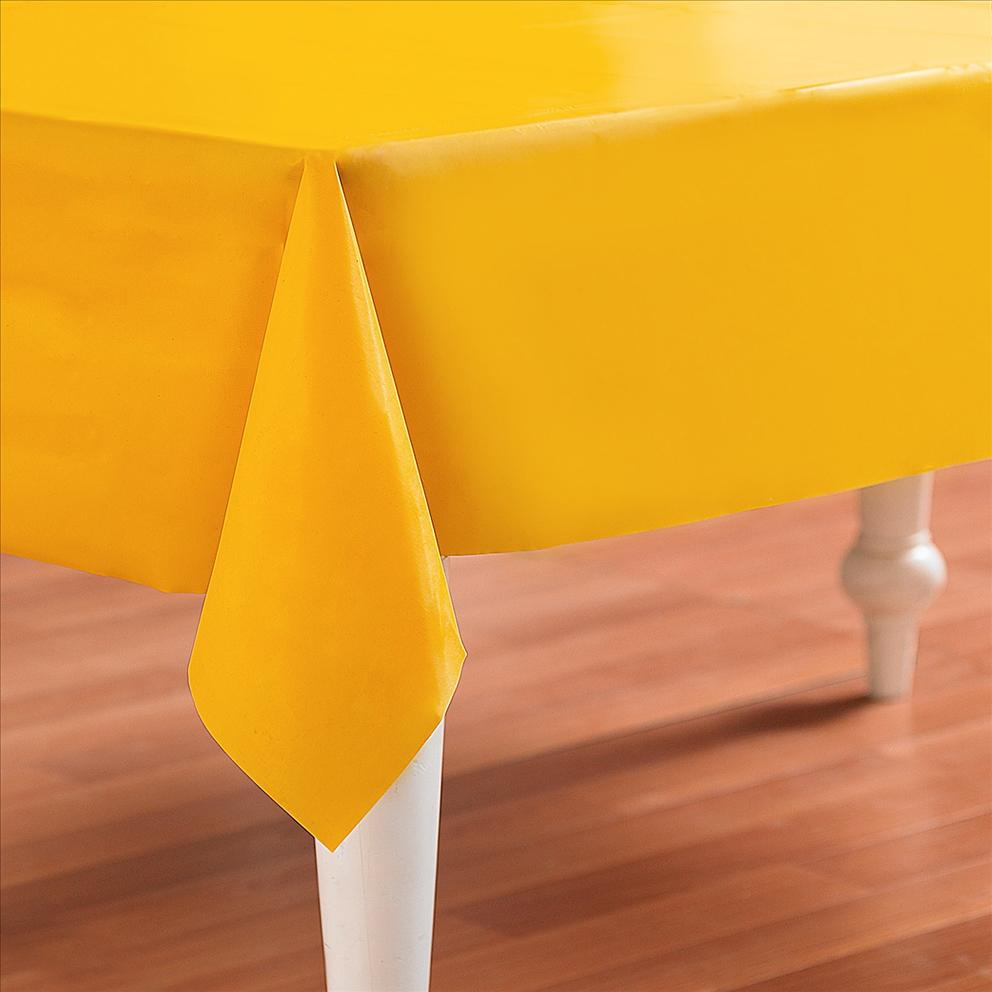 Yellow Plastic Table Cover Rectangle