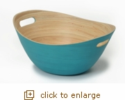 Teal Handcrafted Bamboo Bowl