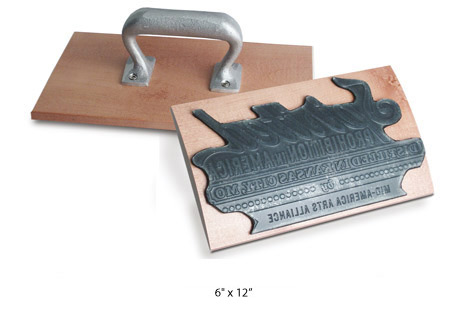 "6"" x 12"" EXTRA LARGE CUSTOM ""Rocker Mount"" Wood Hand Rubber Stamp with Heavy Duty Metal Handle"