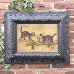 Antique Victorian Era Oil Painting of Kittens in Ornate Period Frame