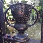Petite Antique 1908 Silver Canoe and Swimming Trophy Cup
