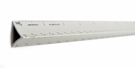 3 Sided, 12'' Metal Architect ruler