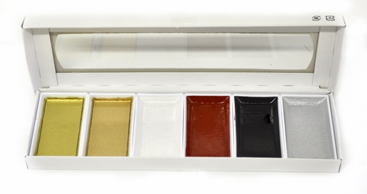 Asian Metallic Watercolor Set, 6 piece
