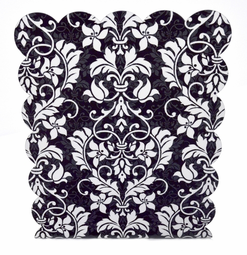 Magnetic Dry Erase Board, Black Damask
