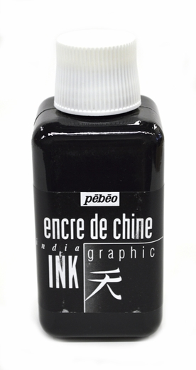 Pebeo Black Graphic India Ink 250ml Bottle encre de chine