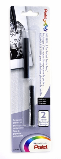 Pentel Pocket Brush Refill pack of 2 Black