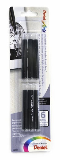 Pentel Pocket Brush Refill pack of 6 Black