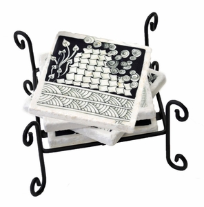 Set of 4 Marble Coasters and Rack