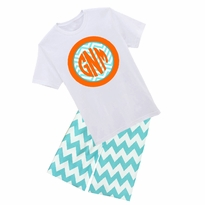 Personalized Chevron Circle Graphic Tee/Short or Pant Set