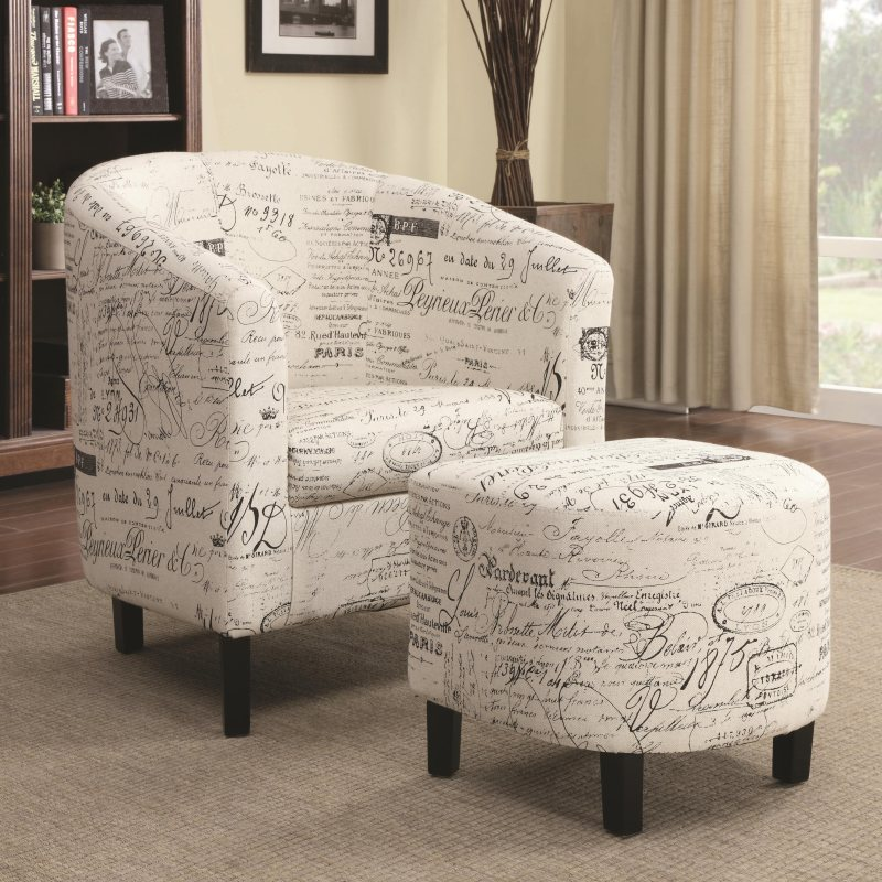 Accent Two Piece Chair And Ottoman Set In French Script