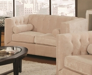 Almond Fabric Upholsted Loveseat with Track Arms 504392