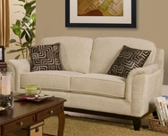 Beige Chenille Love Seat with Exposed Wood Base 502472