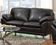 Black Bonded Leather Love Seat with Pillow Armrests 504502