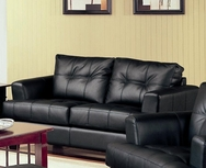 Black Bonded Leather Loveseat 501682