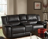 Black Bonded Leather Reclining Gliding Love Seat with Console 601062