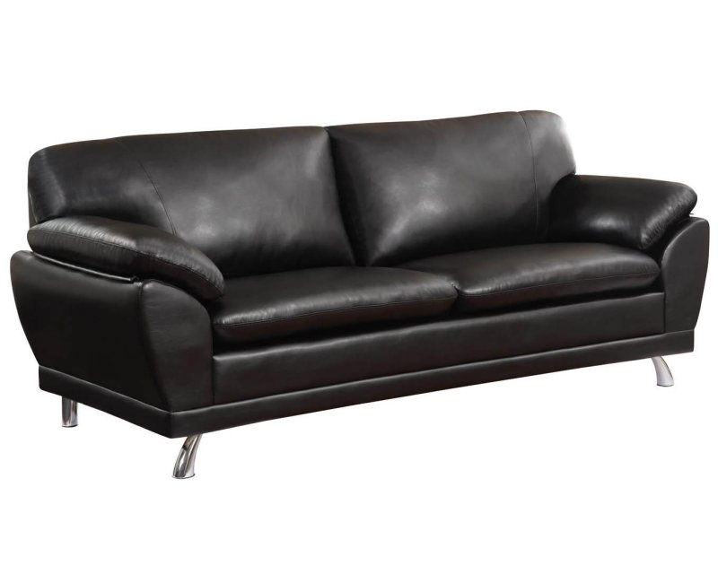 black bonded leather sofa with pillow armrests by coaster furniture