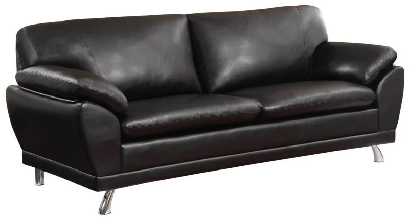 Black Bonded Leather Sofa With Pillow Armrests By Coaster
