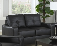 Black Bonded Leather Upholstered Love Seat 502722