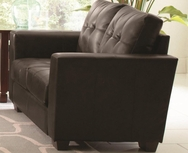 Black Bonded Leather Upholstered Love Seat with Track Arms 503702