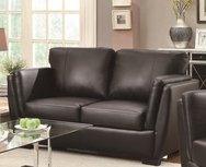 Black Bonded Leather Upholstered Small Love Seat 503685
