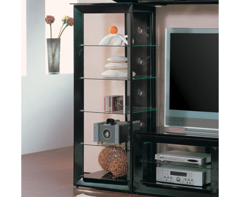 Black Media Tower with 5 Glass Shelves by Coaster Furniture 700164 - Dallas Fort Worth