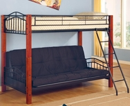 Black Metal and Wood Twin over Futon Bunk Bed 2249