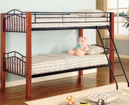 Black Metal and Wood Twin over Twin Bunk Bed 2248