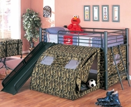 Black Metal Finish Lofted Bed with Slide and Tent 7470