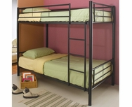 Black Metal Finish Twin over Twin Bunk Bed 460072B