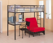 Black Metal Twin Loft Bunk Bed with Futon Chair & Desk 2209