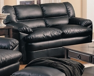 Black Overstuffed Leather Upholstered Love Seat with Pillow Arms 501922