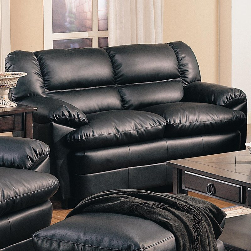 Black Overstuffed Leather Upholstered Love Seat With