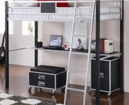 Black & Silver Finish Metal Twin Loft Bed with Desk 460281