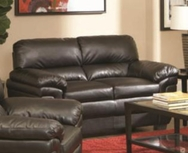 Black Split Back Leather-Like Upholsterd Love Seat 502952