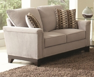 Blue Grey Velvet Upholstered Track Arm Love Seat w/ Nailhead Trim 503602