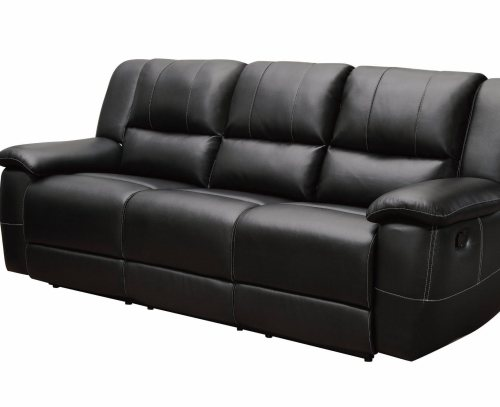 black bonded leather motion sofa with pillow arms by coaster furniture