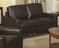 Brown Bonded Leather Loveseat with Platform Legs 504482
