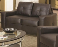 Brown Bonded Leather Upholstered Love Seat 502732