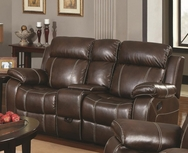 Brown Bonded Leather Upholstered Double Gliding Loveseat 603022