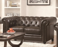 Brown Bonded Leather Upholstered Love Seat with Rolled Back and Arms 504552