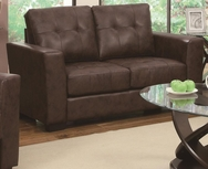 Brown Bonded Leather Upholstered Love Seat with Track Arms 503705