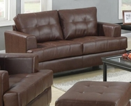 Brown Bonded Leather Upholstered Loveseat 504072